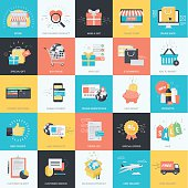 Flat design style concept icons for e-commerce