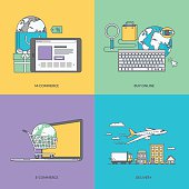 Set of color line icons on the theme of e-commerce