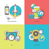 Color line icons on the theme of mobile apps development