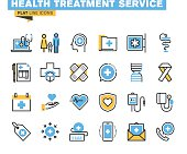 Flat line icons set of health treatment service