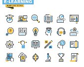 Flat line icons set of e-learning