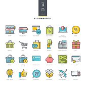 Set of line modern color icons for e-commerce