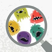 Background with little angry viruses and magnifier