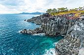 Jungmun Daepo Coast Jusangjeolli Cliff in Jeju island, South Kor