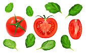 Fresh red tomatoes and basil leaves