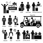 Resort Villa Hotel Tourist Worker and Services Pictogram