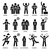 Businessman Attitude Personalities Characters Stick Figure Pictogram Icons