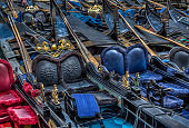 Parking gondolas in Venice, Italy