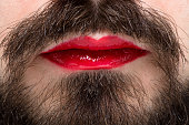 Man's Mouth with Red Lipstick