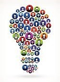Light Bulb People Faces Community and Communication Pattern.