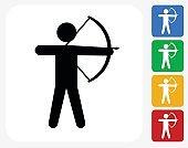 Archery Icon Flat Graphic Design