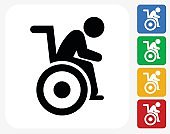 Man in a Wheelchair Icon Flat Graphic Design