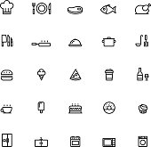 25 Outline Cooking Icons