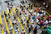 Busy pedestrian crossing at Hong Kong