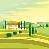 Tuscany Rural Landscape with Houses. Vector