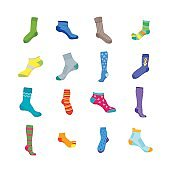 Colorful Fun Socks Set. Vector
