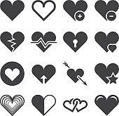 Love heart vector icons set