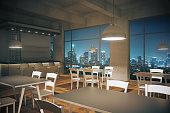 Cafe interior night