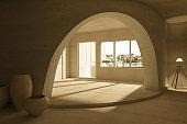 Concrete interior with vases