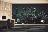 Loft studio design at night