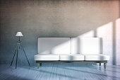 Concrete room with sofa