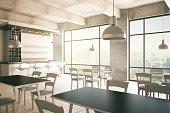 Furnished cafe interior