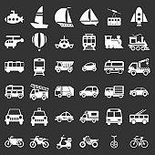 Transport Icons Set Vector Illustration