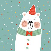 Cute polar bear with party hat and paper. confetti, vector