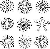 Set of hand drawn fireworks, sunbursts. Isolated vector objects, icons.