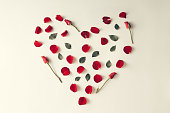 Red rose petal, leaves and flowers in a heart shape
