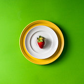 Strawberry on plate setup.