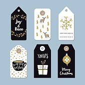 Vintage Christmas gift tags set. Hand drawn labels.