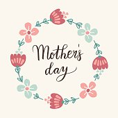 Mothers day greeting card, invitation. Floral wreath, lettering.