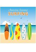 Set surfboards, different designs on beach. Summer sport surfing board