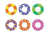 Set colorful swim rings icon isolated on white background.