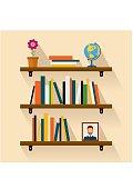 Shelves reading books, picture, globe and flower. Brown bookshelf