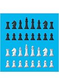 Set black and white chess pieces isolated on blue background.