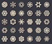 Vector gold snowflakes set