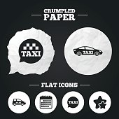 Public transport icons. Taxi speech bubble signs