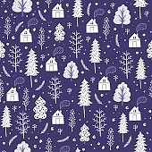Cozy christmas seamless pattern made of winter trees and snowflakes.