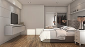 3d rendering nice luxury bedroom with tv and closet