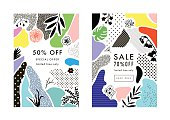 Set of creative Social Media Sale headers with discount offer