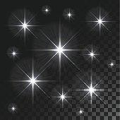 Set Vector glowing light effect stars bursts on transparent background.