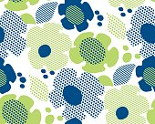 abstract summer floral seamless pattern in blue and green colors