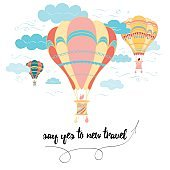 Motivational travel card with emotional phrase, hot air balloon, clouds.