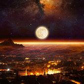 Rising full moon, supermoon