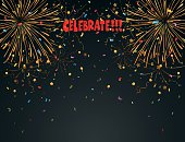 Celebration background with fireworks and colorful confetti