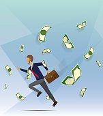 Men running among a lot of money