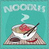 Asian noodles Ramen or Udon with shrimp