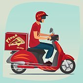 Young pizza courier riding on scooter